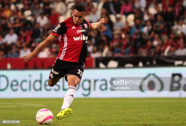 Ravel Morrison of Atlas kicks the ball during the 10nd round match between Atlas and Morelia as part of the Torneo Apertura 2017 Liga MX at Jalisco...