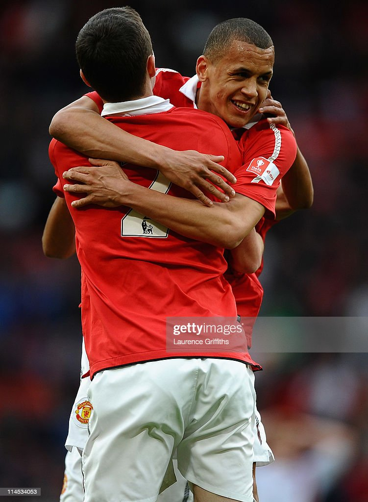 Ravel Morrison (R) of Manchester United celebrates his first half goal during the FA Youth Cup Final 2nd Leg match between Manchester United and Sheffield United at Old Trafford on May 23, 2011 in Manchester, England.