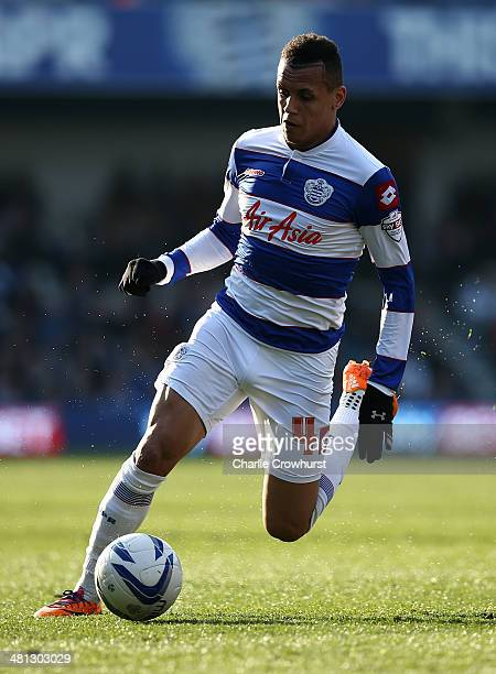 Ravel Morrison of QPR attacks during the Sky Bet Championship match between Queens Park Rangers and Blackpool at Loftus Road on March 29 2014 in...