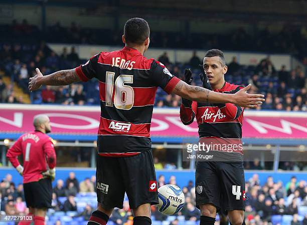 Ravel Morrison of Queens Park Rangers celebrates his goal with provider Jermaine Jenas of Queens Park Rangers during the Sky Bet Championship match...