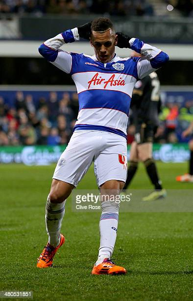 Ravel Morrison of Queens Park Rangers reacts during the Sky Bet Championship match between Queens Park Rangers and Wigan Athletic at Loftus Road on...