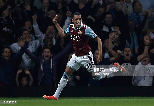 Ravel Morrison of West Ham celebrates scoring his side's first goal during the Capital One Cup third round match between West Ham United and Cardiff...