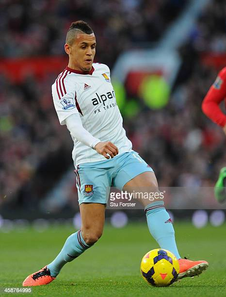 Ravel Morrison of West Ham in action during the Barclays Premier League match between Manchester United and West Ham United at Old Trafford on...