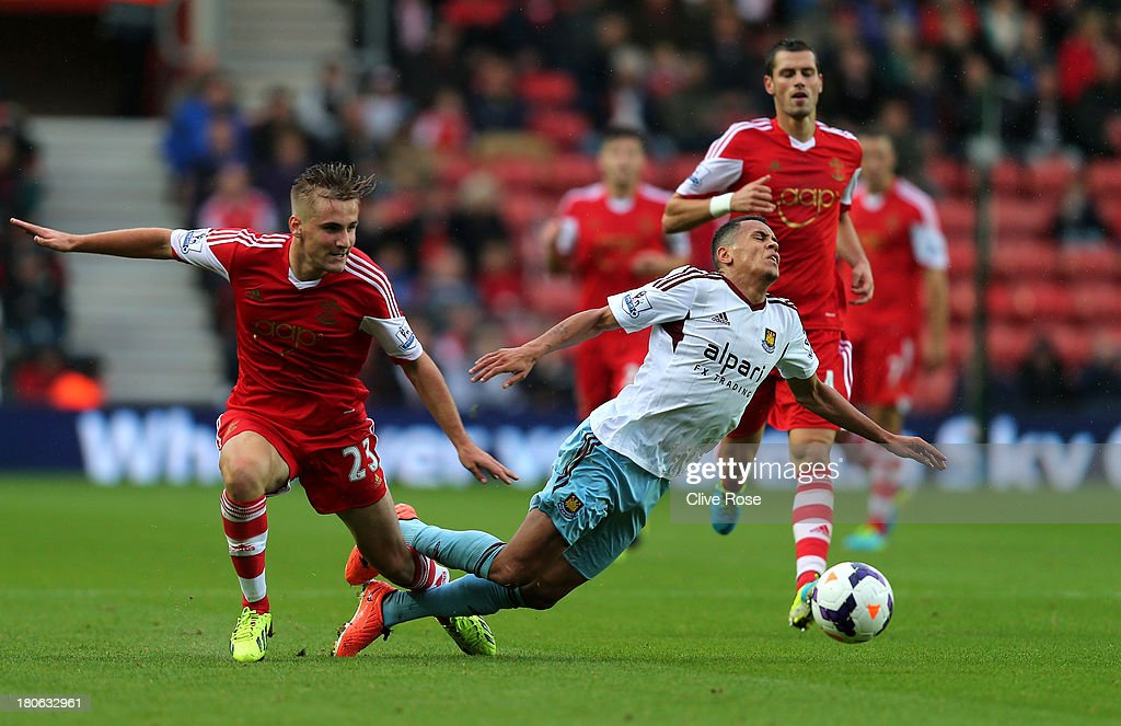 Ravel Morrison of West Ham is brought down by Luke Shaw of Southampton during the Barclays Premier League match between Southampton and West Ham United at St Mary's Stadium on September 15, 2013 in Southampton, England.