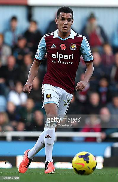 Ravel Morrison of West Ham keeps play moving during the Barclays Premier League match between West Ham United and Aston Villa at Upton Park on...