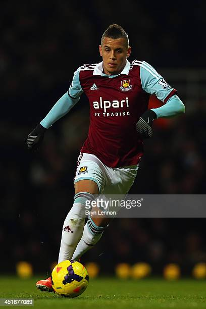 Ravel Morrison of West Ham United in action during the Barclays Premier League match between West Ham United and Chelsea at Boleyn Ground on November...