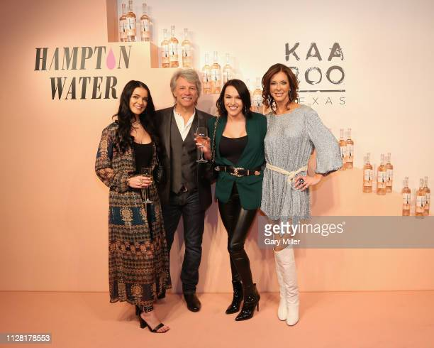 Raven Gates Jon Bon Jovi Alexis Waters and Charlotte Jones Anderson attend the KAABOO Texas Welcomes Hampton Water Tasting at The Joule Hotel on...