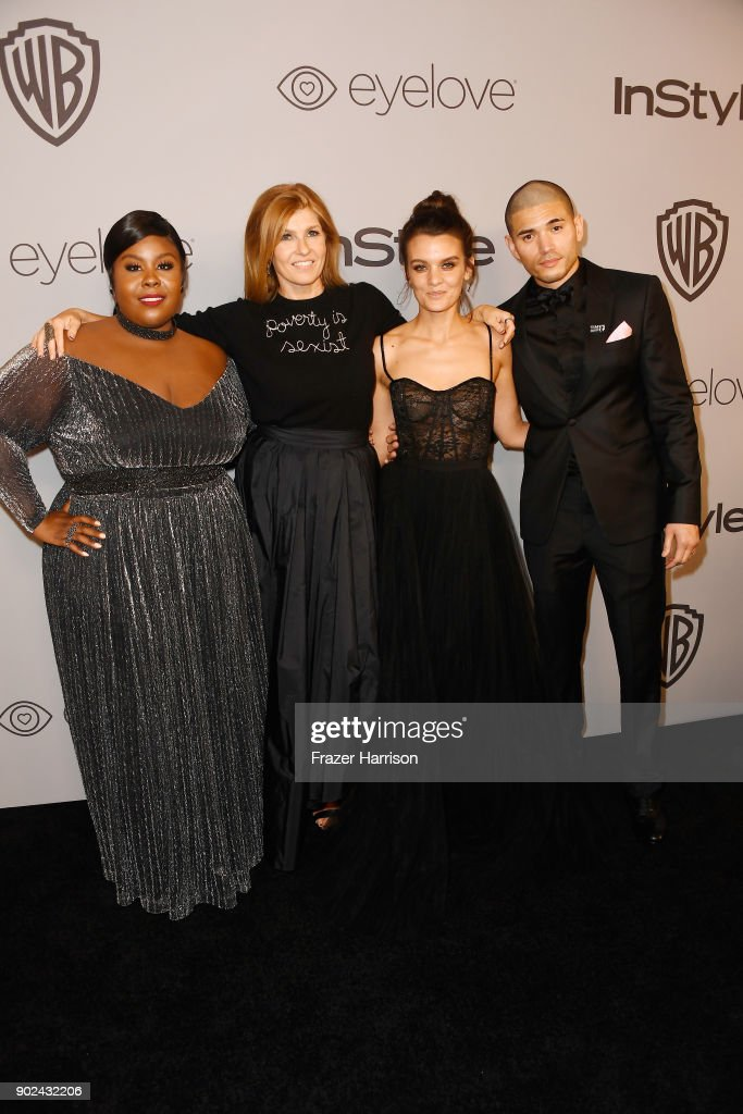 Raven Goodwin, Connie Britton, Frankie Shaw and Miguel Gomez attends 19th Annual Post-Golden Globes Party hosted by Warner Bros. Pictures and InStyle at The Beverly Hilton Hotel on January 7, 2018 in Beverly Hills, California.