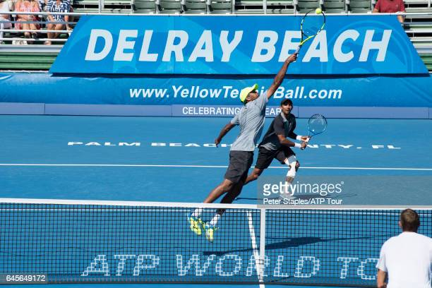 Raven Klaasen of South Africa and Rajeev Ram of USA in championship winning action againstTreat Huey of Philippines and Max Mirnyi of Belarus at the...