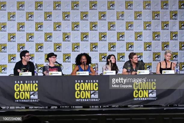 Raven Metzner Clayton Barber Simone Missick Jessica Henwick Finn Jones and Alice Eve speak onstage at Netflix Marvel's Iron Fist during ComicCon...