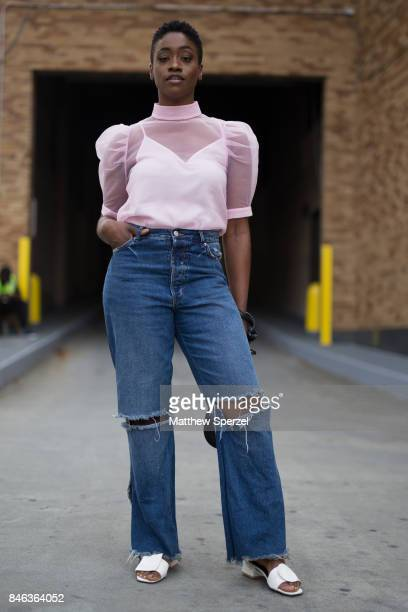 Raven Roberts is seen attending NaeeM Khan and Chiara Boni La petite Rose during New York Fashion Week wearing HM Zara on September 12 2017 in New...