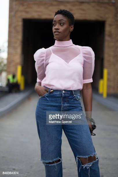 Raven Roberts is seen attending NaeeM Khan and Chiara Boni La petite Rose during New York Fashion Week wearing HM Zara on September 12 2017 in New...