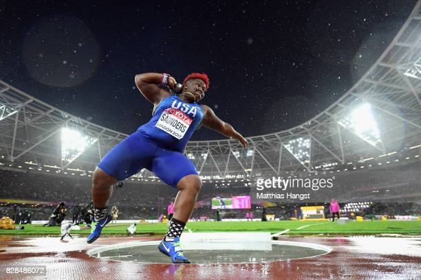 Raven Saunders of United States competes in the Women's Shot Put final during day six of the 16th IAAF World Athletics Championships London 2017 at...