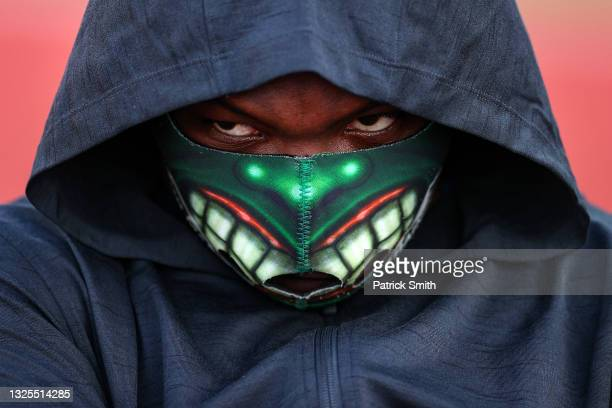 Raven Saunders wears a mask before she competes in the Women's Shot Put Finals on day seven of the 2020 U.S. Olympic Track & Field Team Trials at...