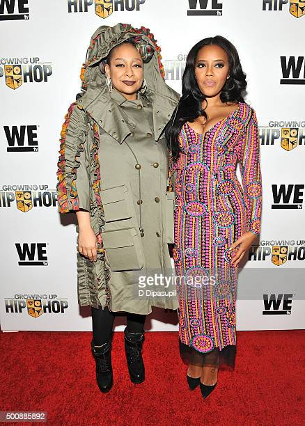 Raven Symone and Angela Simmons attend as WE tv Celebrates The Premiere Of New Series Growing Up Hip Hop on December 10 2015 in New York City