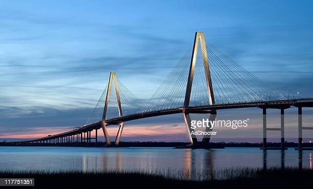 ravenel bridge (cooper river bridge) in charleston sc - suspension bridge stock photos and pictures