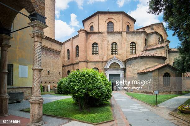 Ravenna Ravenna Province Italy Exterior of San Vitale basilica The basilica was begun in the 6th century and is one of eight early Christian...