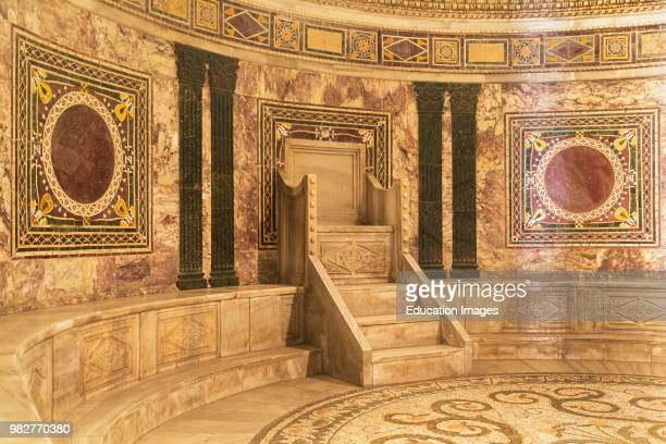 Ravenna Ravenna Province Italy Marble seat in apse of San Vitale basilica San Vitale is a UNESCO World Heritage Site