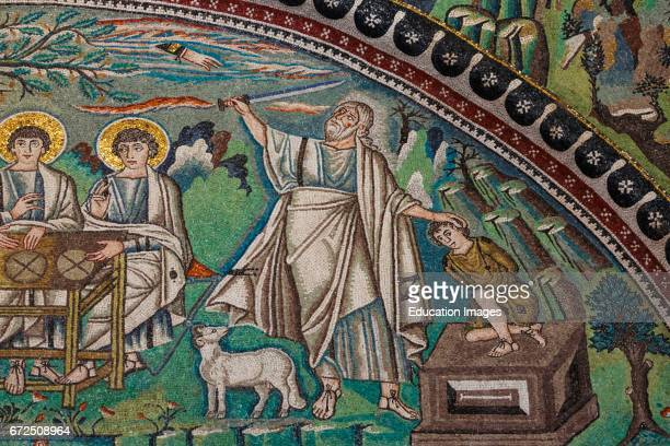 Ravenna Ravenna Province Italy Mosaic in San Vitale basilica Detail of The Hospitality of Abraham and the Sacrifice of Isaac San Vitale is a UNESCO...