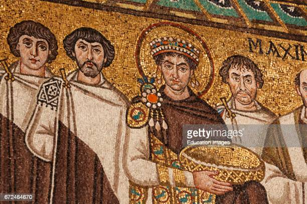Ravenna Ravenna Province Italy Mosaic in San Vitale basilica of Emperor Justinian I with members of his court He is carrying a basket which possibly...