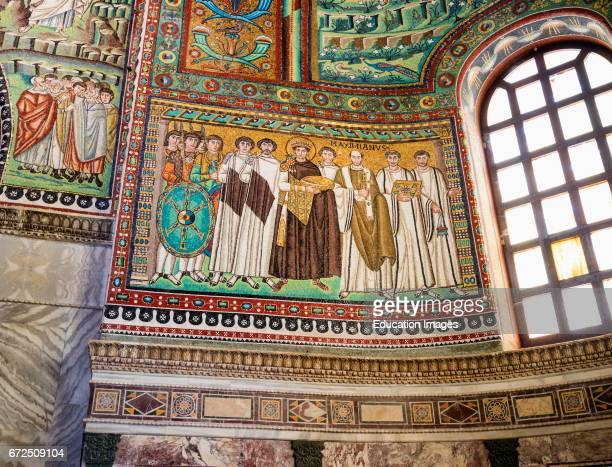 Ravenna Ravenna Province Italy Mosaic in San Vitale basilica of Emperor Justinian I with members of his court The basilica was begun in the 6th...