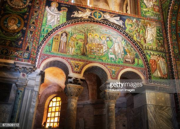 Ravenna Ravenna Province Italy Mosaic on the left typanum in San Vitale basilica describing events in the life of Abraham including on the right his...