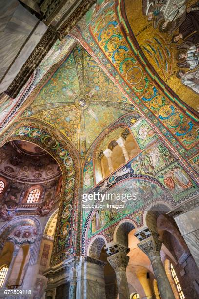 Ravenna Ravenna Province Italy Mosaics in San Vitale basilica The basilica was begun in the 6th century and is one of eight early Christian monuments...