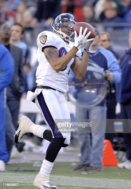 Ravens Demetrius Williams catches the ball during 2nd half action The Baltimore Ravens beat the Tennessee Titans 2726 on November 12 2006 at LP Field...