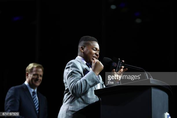 Ravens fan TJ Onwuanibe annouces Marlon Humphrey of Alabama as the overall pick by the Baltimore Ravens during the first round of the 2017 NFL Draft...
