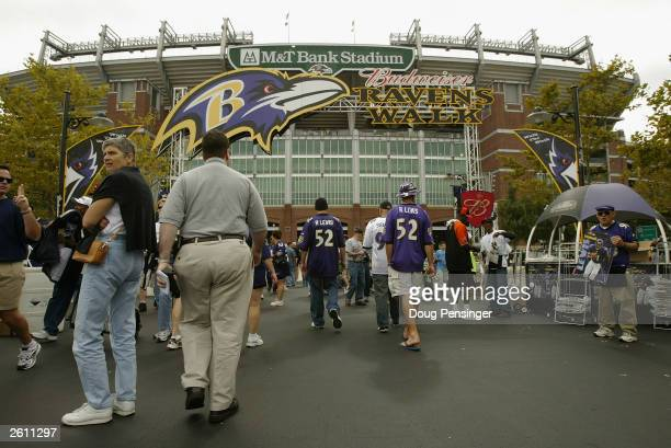 Ravens fans enter the stadium as the Baltimore Ravens host the Kansas City Chiefs on September 28, 2003 at the M&T Bank Stadium in Baltimore,...