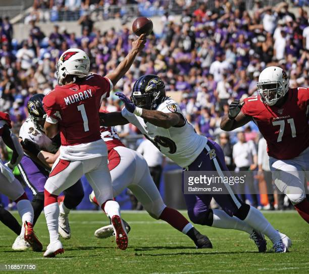 Ravens' Matthew Judon right pressures Cardinals quarterback Kyler Murray in the second quarter The Ravens defeated the Cardinals by score of 23 to 17...