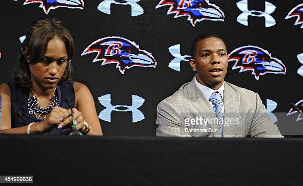 Ravens running back Ray Rice, right, and his wife Janay made statements to the news media May 5 at the Under Armour Performance Center in Owings...