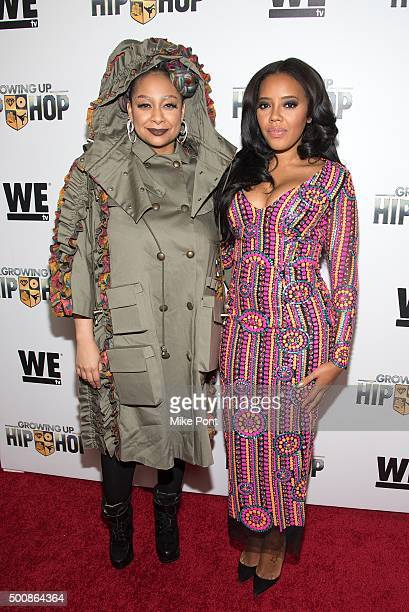 """Raven-Symone and Angela Simmons attend WE tv's """"Growing Up Hip Hop"""" premiere party at Haus on December 10, 2015 in New York City."""