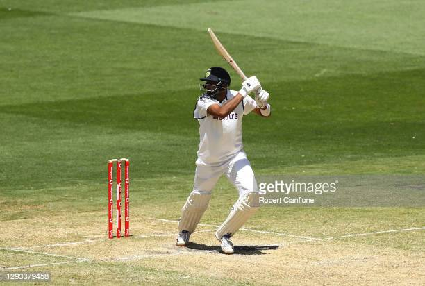 Ravi Ashwin of India hits out during day three of the Second Test match between Australia and India at Melbourne Cricket Ground on December 28, 2020...