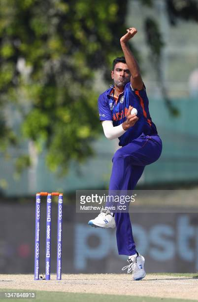 Ravi Ashwin of India in bowling action during the India and Australia warm Up Match prior to the ICC Men's T20 World Cup at on October 20, 2021 in...