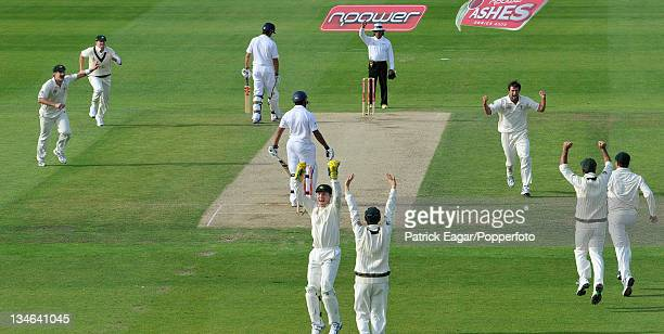 Ravi Bopara is given out lbw to Hilfenhaus first ball he got an inside edge England v Australia 4th Test Headingley Jul 09