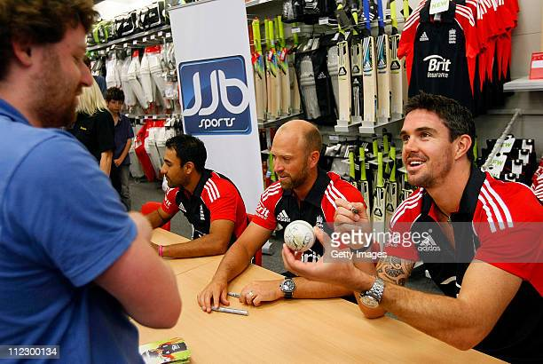 Ravi Bopara, Matt Prior and Kevin Pietersen launch the new One Day International England Cricket Kit, supplied by England kit sponsor adidas, at the...