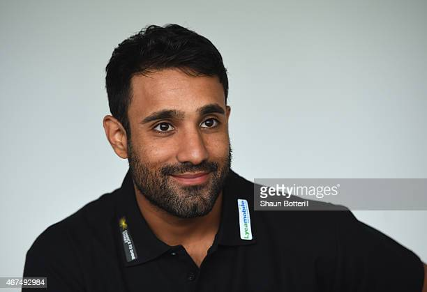 Ravi Bopara of England and Essex talks to the media during a Lycamobile Chance to Shine Street Partnership Announcement at the Kia Oval on March 25...