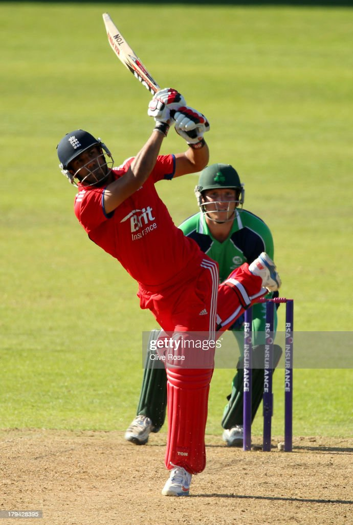 Ravi Bopara of England hits a six during the RSA Challenge One Day International match between Ireland and England on September 3, 2013 in Malahide, Ireland.