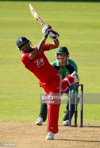 Ravi Bopara of England hits a six during the RSA Challenge One Day International match between Ireland and England on September 3 2013 in Malahide...