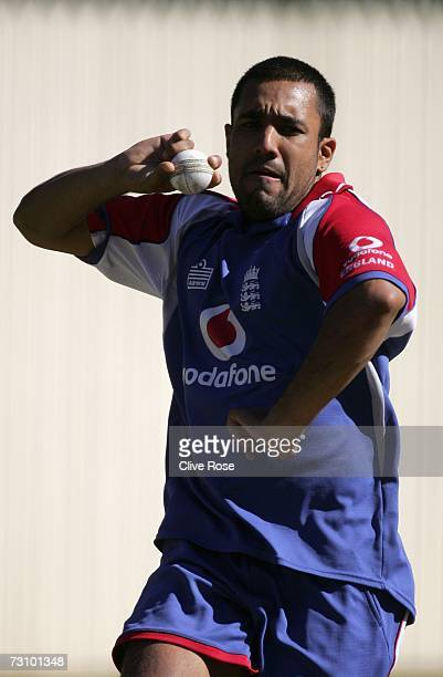 Ravi Bopara of England in action during the England nets session at the Adelaide Oval on January 25 2006 in Adelaide Australia