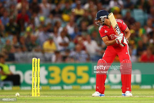 Ravi Bopara of England is bowled during game three of the International Twenty20 series between Australia and England at ANZ Stadium on February 2...