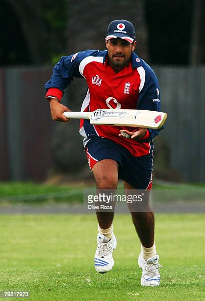 Ravi Bopara of England practices running between the wickets during a nets session at Mclean Park on February 18, 2008 in Napier, New Zealand