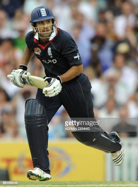 Ravi Bopara of England runs down the wicket against The West Indies during the ICC World Twenty20 supereight match at the Oval in London on June 15...