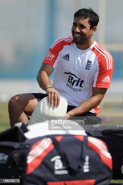 Ravi Bopara of England smiles during a nets session at the ICC Global Cricket Academy on February 1 2012 in Dubai United Arab Emirates