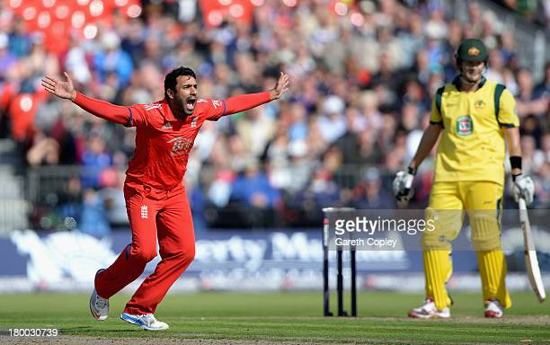 Ravi Bopara of England successfully appeals for the wicket of Shane Watson of Australia during the 2nd NatWest Series ODI between England and...