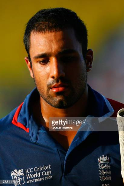 Ravi Bopara of England walks back after being bowled by Dilhara Fernando of Sri Lanka off the last ball of the match during the ICC Cricket World Cup...
