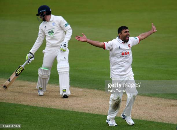 Ravi Bopara of Essex appeals for the wicket of Liam Dawson of Hampshire during Day One of the Specsavers County Champions Division One match between...