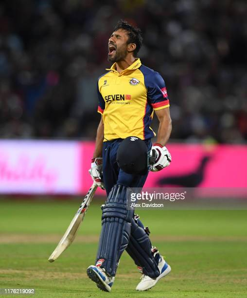Ravi Bopara of Essex celebrates victory during the Vitality T20 Blast Final match between Worcestershire Rapids and Essex Eagles at Edgbaston on...