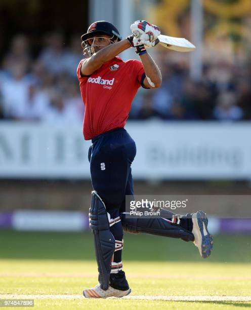Ravi Bopara of Essex Eagles bats hits the ball in the air and is caught during the Royal London OneDay Cup match between Essex Eagles and Yorkshire...